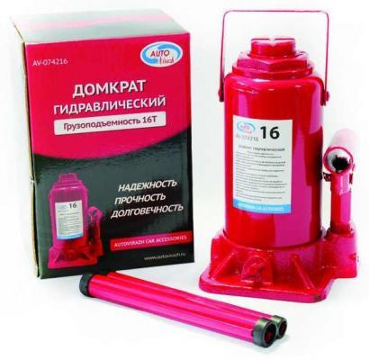Домкрат AUTOVIRAZH AV-074216 гидравлический 16 т бутылочный в коробке красный домкрат autovirazh av 076002 2т