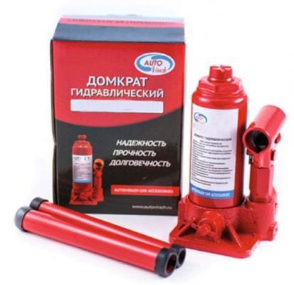 Домкрат AUTOVIRAZH AV-073406 гидравлический 6 т бутылочный в коробке 2-х штоковый красный домкрат autovirazh av 076002 2т