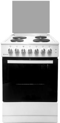 Плита Электрическая De Luxe 606004.13э 001 белый эмаль (стеклянная крышка) цена и фото