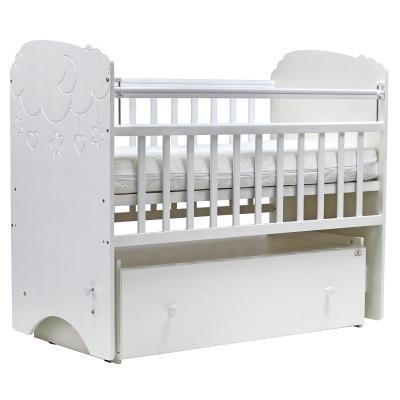 Купить Кроватка с маятником Топотушки Софья (арт. 27/облака-белый), массив берёзы/ МДФ, Кроватки с маятником