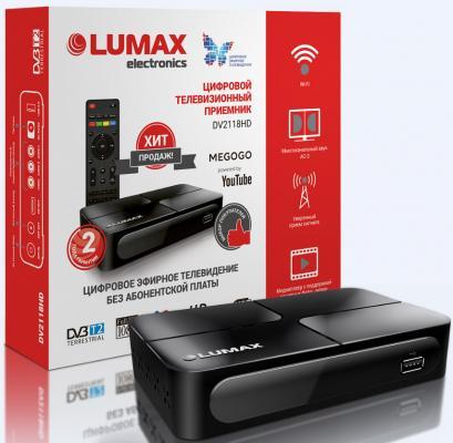 Приставка DVB-T2 LUMAX/ GX3235S, Пластик, Dolby Digital,IPTV-плейлисты, YouTube, Кинозал LUMAX (более 500 фильмов), MEGOGO, 3 RCA, USB, HDMI аксессуар lumax шнур hdmi standard 3 0 m с ферритом ah 0023