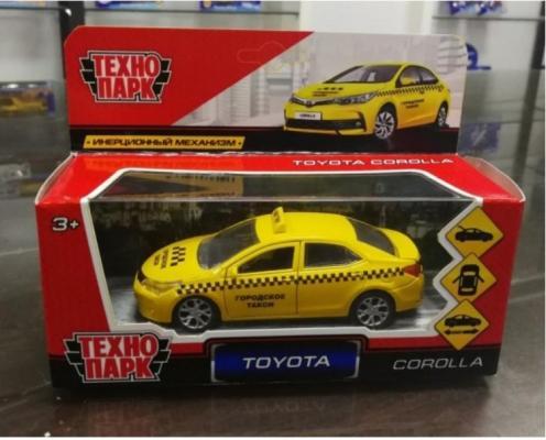 Инерционная машинка ТЕХНОПАРК TOYOTA COROLLA ТАКСИ желтый инерционная машинка технопарк skoda rapid такси желтый