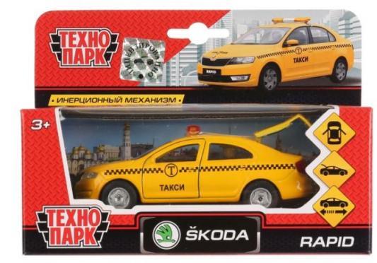 Инерционная машинка ТЕХНОПАРК SKODA Rapid такси желтый инерционная машинка технопарк skoda rapid такси желтый