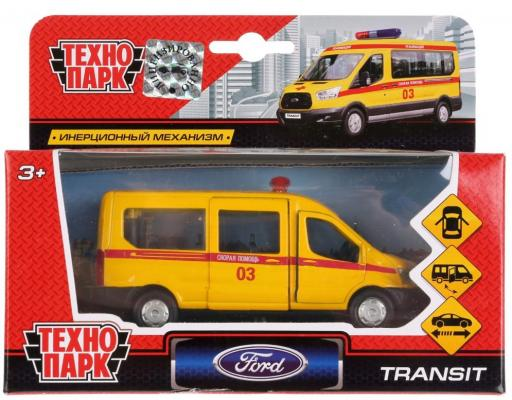 Инерционная машинка ТЕХНОПАРК FORD Transit «Скорая» желтый инерционная машинка технопарк skoda rapid такси желтый