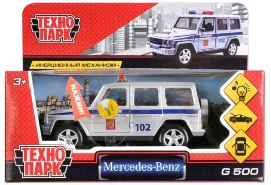 Полицейская машина ТЕХНОПАРК «MERCEDES-BENZ G-CLASS» серебристый 12 см