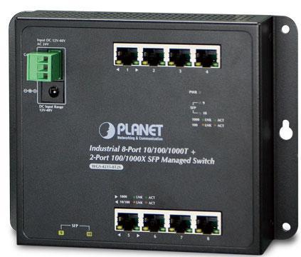 IP30, IPv6/IPv4, 8-Port 1000TP + 2-Port 100/1000F SFP Wall-mount Managed Ethernet Switch (-40 to 75 C), dual redundant power input on 12-48VDC / 24VAC terminal block and power jack, SNMPv3, 802.1Q VLAN, IGMP Snooping, SSL, SSH, ACL