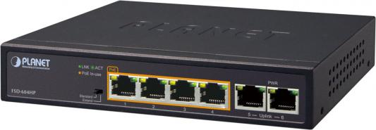 4-Port 10/100TX 802.3at POE + 2-Port Desktop Switch (60W Budget, 250m Extend mode, fanless, internal Power Supply)