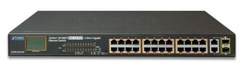 24-Port 10/100TX 802.3at PoE + 2-Port Gigabit TP/SFP Combo Ethernet Switch with LCD PoE Monitor (300W)