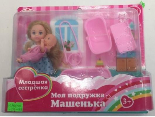 Набор из 2-х кукол КарапузМашенька 12см и младшая сестренка 5см,с аксесс на блистере в кор.2*36наб кукла карапуз машенька 12см в модной одежде в русс кор в кор 2 144шт
