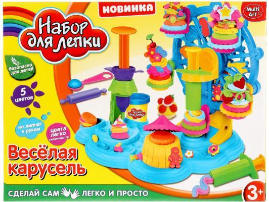 Набор для лепки MultiArt Веселая карусель 5 цветов масса для лепки abtoys радуга 5 цветов 18 предметов 118929