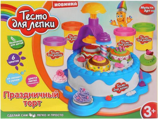 Набор для лепки из теста MultiArt Праздничный торт 5 цветов масса для лепки abtoys радуга 5 цветов 18 предметов 118929