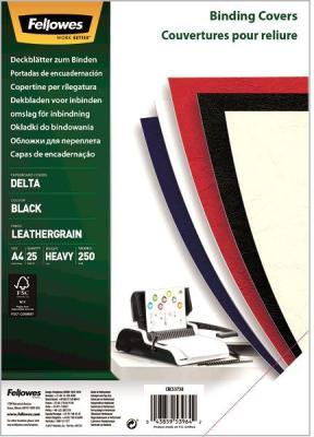 Фото - Обложка Delta A4 Fellowes. Цвет: черный, 25 шт, тиснение под кожу, шт fellowes ручка шариковая на подставке синяя цвет корпуса черный