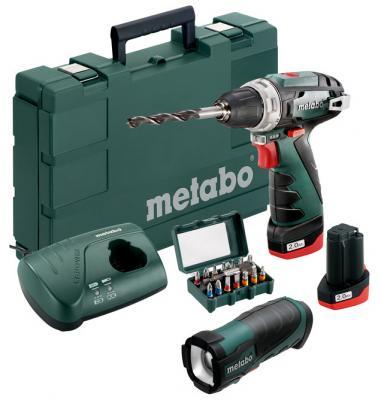 цена на Акк.дрель-шуруповерт Metabo PowerMaxx BS Basic Set 600080930 +2X2Ah Li-ion 10.8B+ЗУ+фонарик+15 бит