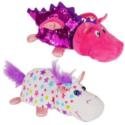 Мягкая игрушка вывернушка 1toy Единорог-Дракон плюш розовый белый 30 см мягкие игрушки 1toy вывернушка единорог дракон