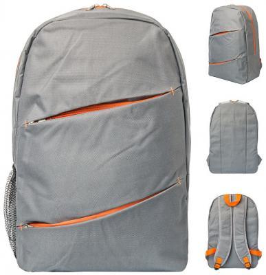 Купить Рюкзак ACTION, разм.42х28х11 см, городской, серый с оранжевыми молниями вставками, мягкая спи, Action!, Рюкзаки