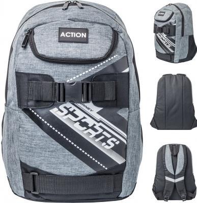 Купить Рюкзак ACTION, разм.42, 5х37х18 см, серый, мягкая спинка, для мальчиков, Action!, Рюкзаки
