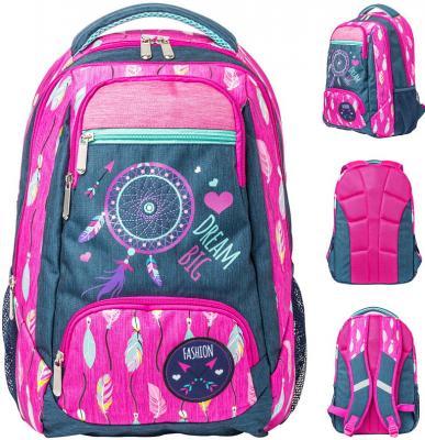 Рюкзак ACTION, разм. 42х29х13,5 см, серый/розовый, с принтом, улучшенная спинка, д/девочек рюкзак 3020804408 2 розовый серый