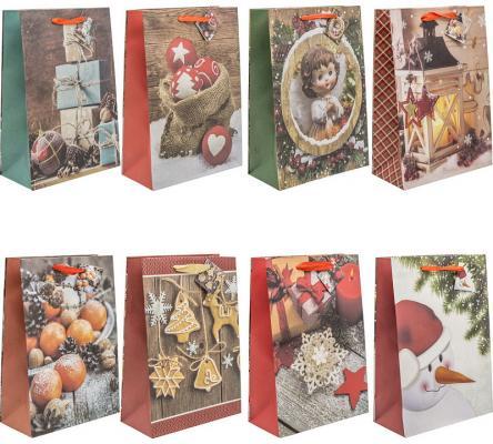 Пакет подарочный крафт, 21*30*10 см, бумага, 8 дизайнов пакет подарочный крафт 26 32 13 см бумага