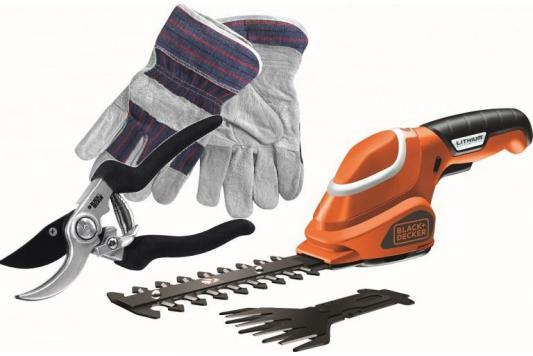 Ножницы BLACK & DECKER GSL700KIT-QW садовые - кусторез 7В li-ion перчатки ручные кусторез black decker gtc18452pcb