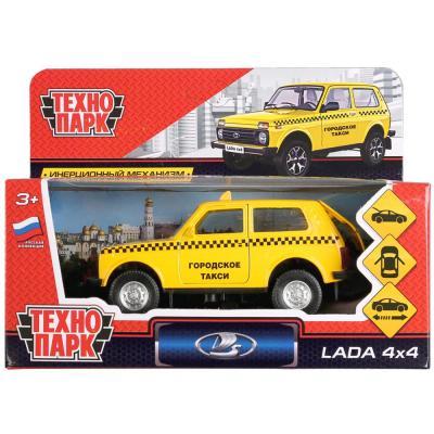 Машинка ТЕХНОПАРК LADA 4x4 Такси желтый LADA4X4-T инерционная машинка технопарк skoda rapid такси желтый