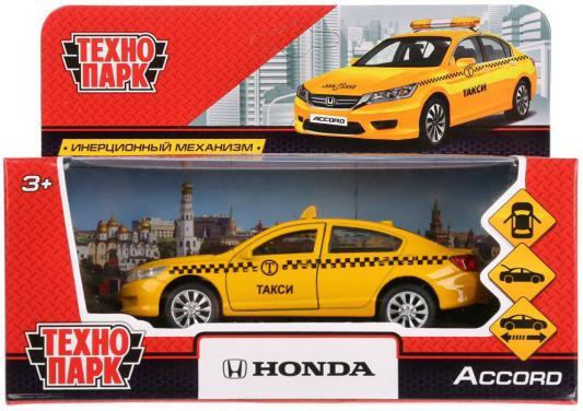 Инерционная машинка ТЕХНОПАРК Honda Accord. Такси желтый инерционная машинка технопарк skoda rapid такси желтый