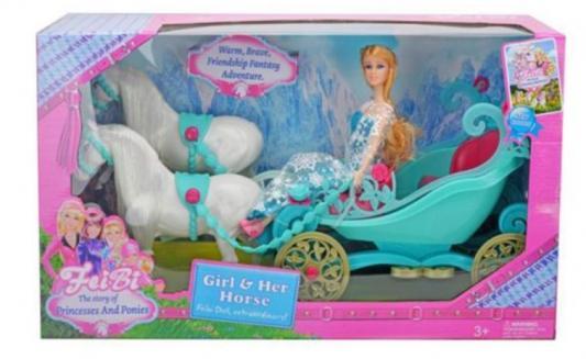 Карета с лошадьми и куклой Наша Игрушка Карета бирюзовая с лошадьми и куклой игрушка конструктор забияка королевская карета 1157895