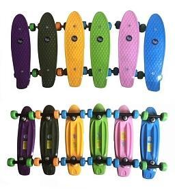 Скейт Navigator пласт.,кол.ПВХ 42х28мм без света, втулки ПВХ, пласт.траки, 42х12х8см, цвета в ассорт