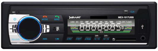 Автомагнитола Swat MEX-1017UBB 1DIN 4x50Вт автомагнитола swat mex 1224ubw 1din 4x45вт