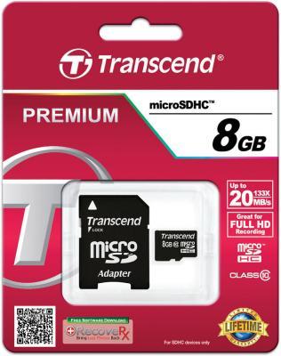 Карта памяти MicroSDHC 8GB Transcend Class10 (TS8GUSDHC10) sdhc transcend 8gb class10 ts8gsdhc10