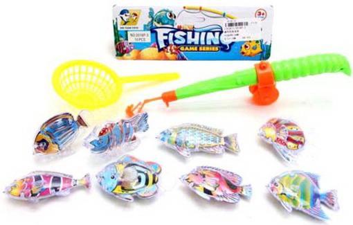 Рыбалка магн.  8 фигурок + удочка + сито, пакет