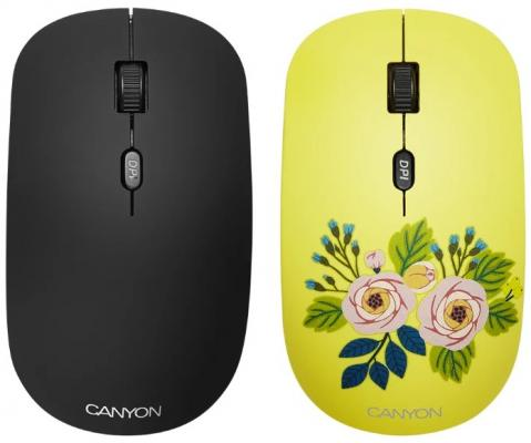 CANYON CND-CMSW400R {wireless Optical Mouse with 4 buttons, DPI 800/1200/1600, 1 additional cover(Roses), black, 103*58*32mm, 0.087kg, 2.4GHz} wireless 2 4ghz 800 1600 3200dpi usb optical mouse for mac windows