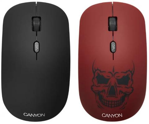 CANYON CND-CMSW401RS {wireless Optical Mouse with 4 buttons, DPI 800/1200/1600, 1 additional cover(Red skull), black, 103*58*32mm, 0.087kg, 2.4GHz} wireless 2 4ghz 800 1600 3200dpi usb optical mouse for mac windows