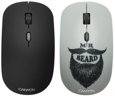 CANYON CND-CMSW401BD {wireless Optical Mouse with 4 buttons, DPI 800/1200/1600, 1 additional cover(Beard), black, 103*58*32mm, 0.087kg, 2.4GHz}