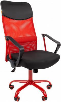 Офисное кресло Chairman 610 Россия 15-21 черный + TW красный /CMet (7021399) цена и фото