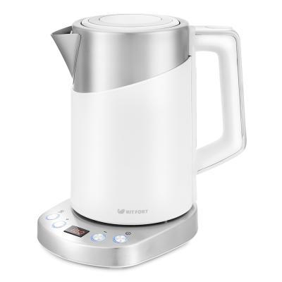 Чайник электрический Kitfort КТ-660-1 1.7л. 2200Вт белый (корпус: пластик) чайник электрический kitfort кт 654 1 1 7л 2200вт голубой корпус стекло