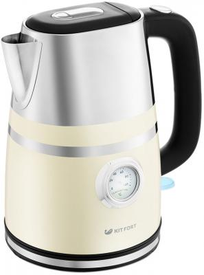 Чайник электрический KITFORT КТ-670-3 2200 Вт бежевый 1.7 л металл чайник электрический kitfort кт 670 3 1 7л 2200вт бежевый