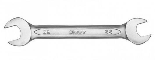 Ключ рожковый KRAFT КТ 700534 (22 / 24 мм) хром-ванадиевая сталь (Cr-V) ключ гаечный рожковый kraft кт 700524 10 12 мм