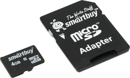 цена на Карта памяти Micro SDHC 4GB Smartbuy Сlass 10 (с адаптером SD)