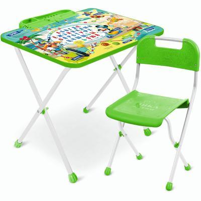 Купить КОМПЛЕКТ ДЕТСКИЙ DISNEY 1 МИККИ МАУС СТОЛ H=52 СМ (С ПЕНАЛОМ) + СТУЛ (ПЛАСТ. СИДЕНЬЕ) Д1М, Nika, Серебристый, Зеленый, металл, пластик, Парты и наборы мебели