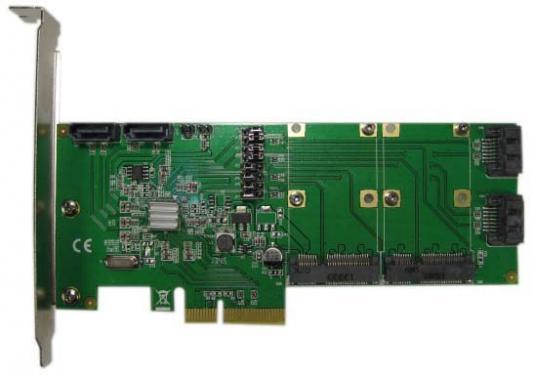 Контроллер PCI-E Espada HYPER Duo, 4int SATA3 + 2 mSATA, FG-EST14A-1, ОЕМ (40056) неисправное оборудование цена