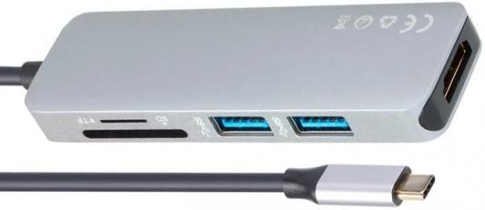 Концентратор USB Type-C VCOM Telecom CU430M HDMI 2 х USB 3.0 серый концентратор usb 3 0 vcom telecom dh311 3 х usb 3 0 1 х usb 2 0 белый