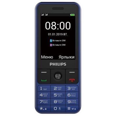 Мобильный телефон Philips E182 Xenium (Blue) 2SIM/2.4/320x240/Слот для карт памяти/MP3/Фонарик/3100 мАч мобильный телефон philips xenium e570 серый