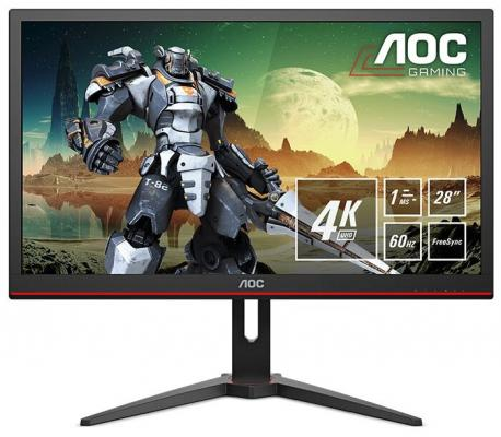 Фото - МОНИТОР 28 AOC G2868PQU Black (LED, 3840x2160, 1 ms, 170°/160°, 300 cd/m, 50M:1, +HDMI 1.4, +HDMI 2.0, +DisplayPort 1.2 монитор 25 aoc agon ag251fg black red led 1920x10800 240hz 1 ms 170° 160° 400 cd m 50m 1 hdmi displayport