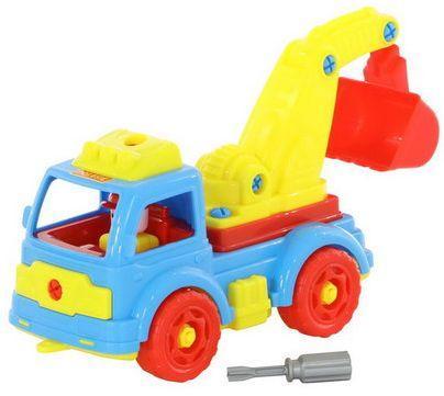 Купить Конструктор-транспорт Автомобиль-экскаватор (34 элемента) (в сеточке) 335х132х195, best toys, Пластмассовые конструкторы