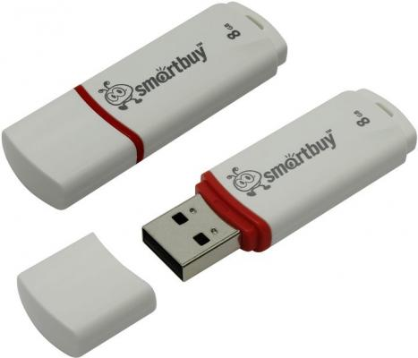 Флешка 8Gb Smart Buy Crown USB 2.0 белый SB8GBCRW-W smartbuy smart buy crown 8гб черный usb 2 0