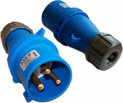 лучшая цена Вилка Lanmaster LAN-IEC-309-32A1P/M IEC 309 32A 250V blue