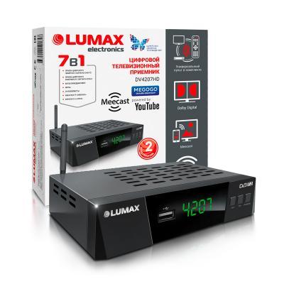 Приставка DVB-T2 LUMAX/ GX3235S, эфирный + кабельный, Металл, 3 кнопки, дисплей, USB, 3RCA, HDMI, внешний б/п, встроенный Wi-Fi адаптер, Кинозал LUMAX (более 500 фильмов) wi fi адаптер asus usb ac56