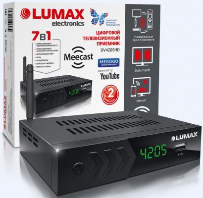 Приставка DVB-T2 LUMAX/ GX3235S, эфирный + кабельный, Металл, 7 кнопок, дисплей, USB, 3RCA, HDMI, внешний б/п, встроенный Wi-Fi адаптер, Кинозал LUMAX (более 500 фильмов) wi fi адаптер asus usb ac56