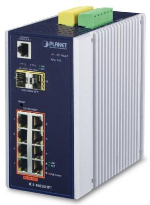 IP30 L2+ SNMP Manageable 8-Port Gigabit POE+(AT) Switch + 2-Port SFP Industrial (-40 to 75 C), ERPS Ring Supported, 1588