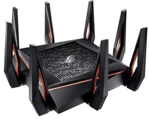 Беспроводной маршрутизатор ASUS GT-AX11000 802.11abgnacadax 5952Mbps 2.4 ГГц 5 ГГц 4xLAN USB черный (90IG04H0-MO3G00) цена